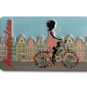 HKS4 Amsterdam bike girl blik magneet 5.5x10cm