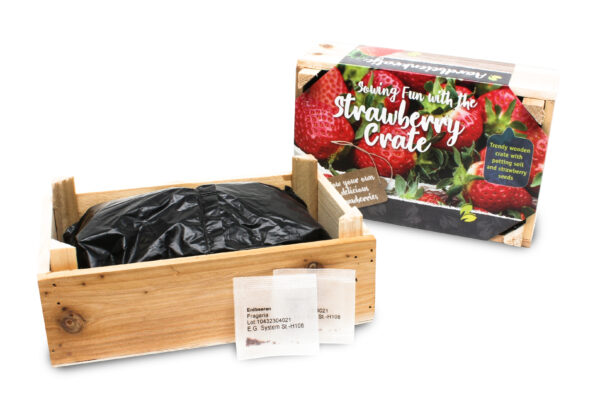 Wooden tray strawberry