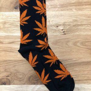 Wietblad sokken zwart oranje