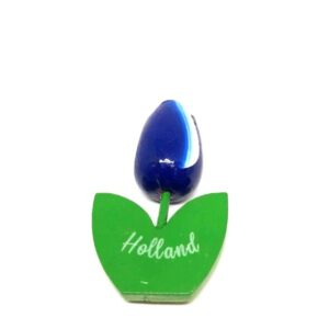 Houten tulp magneet blauw wit