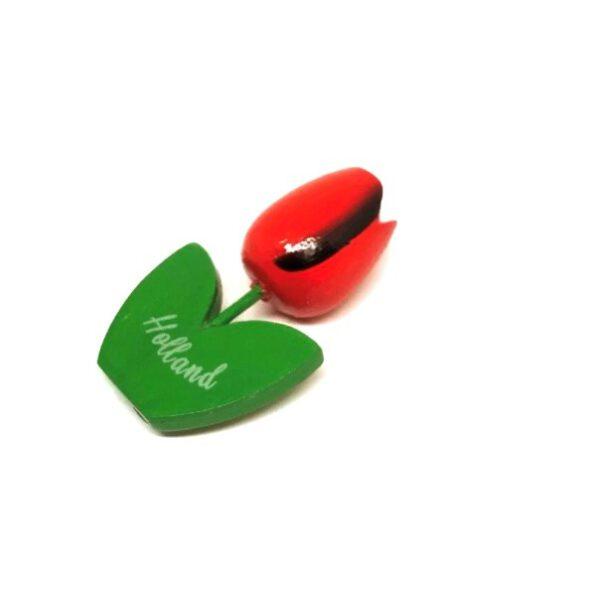 Houten tulp magneet rood zwart