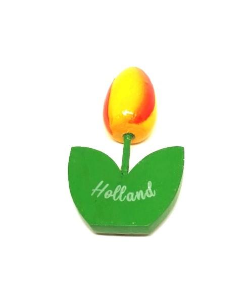 Houten tulp magneet geel oranje
